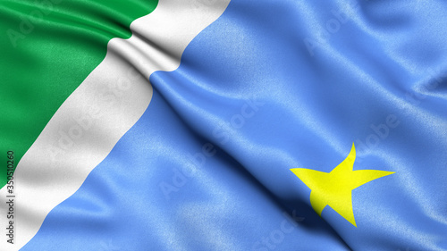 Photo 3D illustration of the Brazilian state flag of Mato Grosso do Sul waving in the wind