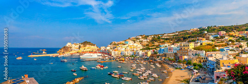 Panoramic view of the harbor and port at Ponza, Lazio, Italy Wallpaper Mural