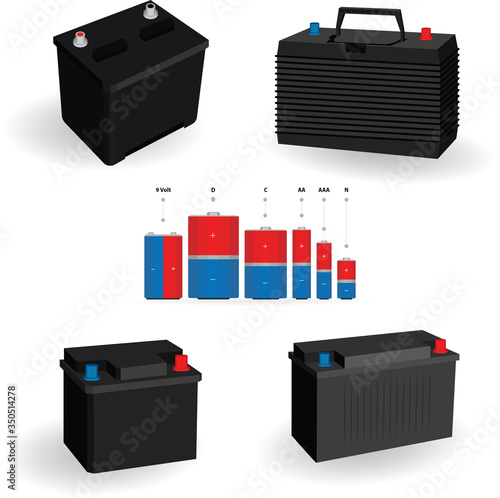 Photo Car accumulator and alkaline battery vector illustrations set