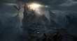 Leinwandbild Motiv Dark castle in the valley, dark atmosphere of hell.