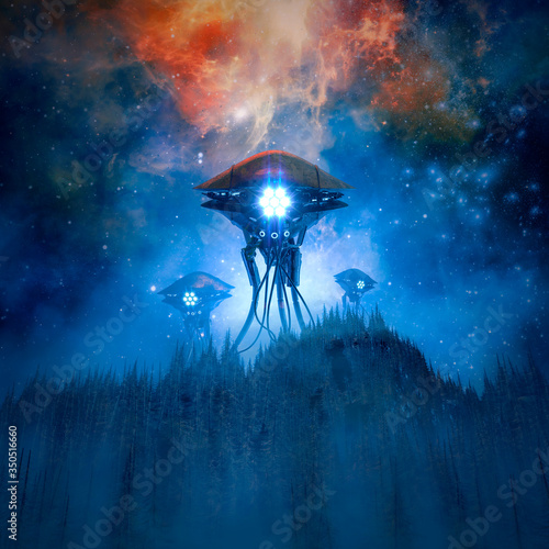 Photo Invaders by night / 3D illustration of retro science fiction scene with giant al