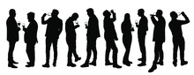 Business People Meeting And Drinking Wine Vector Silhouette Isolated On White. Friends Toasting Relaxation After Work. Boys Drink Beer In Bar. Social Live Celebration With Beverage. Girl And Boy Love.
