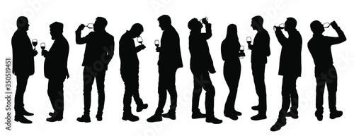 Photographie Business people meeting and drinking wine vector silhouette isolated on white