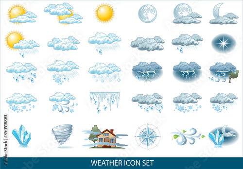 Obraz na plátně Vector weather forecast icon with bright background
