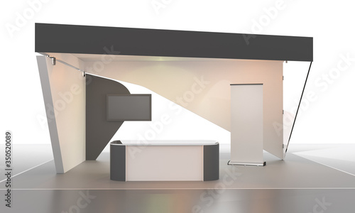 Fotografia Sketch style exhibition counter with vertical banners