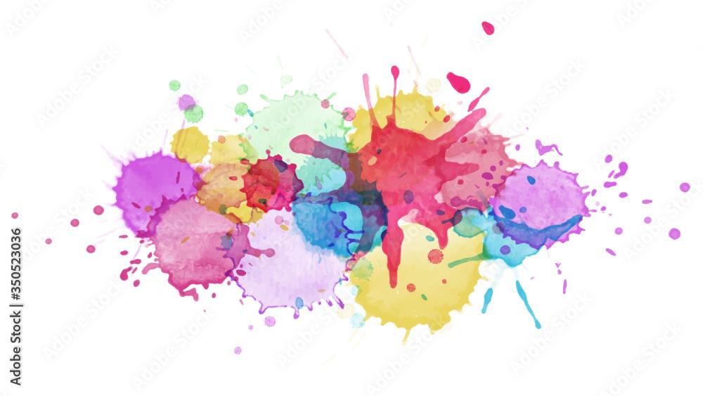 Fototapeta Abstract surface of Multicolored splash watercolor blot