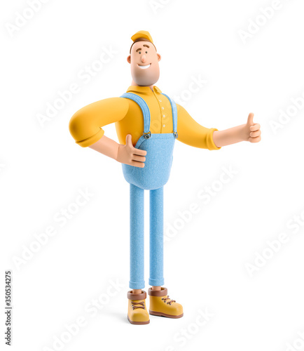 Obraz 3d illustration. Cartoon character. Deliveryman in overalls holds thumb up. - fototapety do salonu