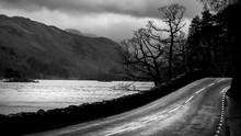 Empty Moody Road At Ullswater ...
