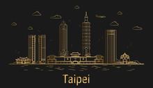 Taipei City Line Art, Golden A...