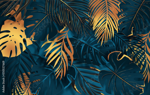 Gold and dark vector turquoise tropical leaves on dark background. Exotic botanical background design for luxury brands.