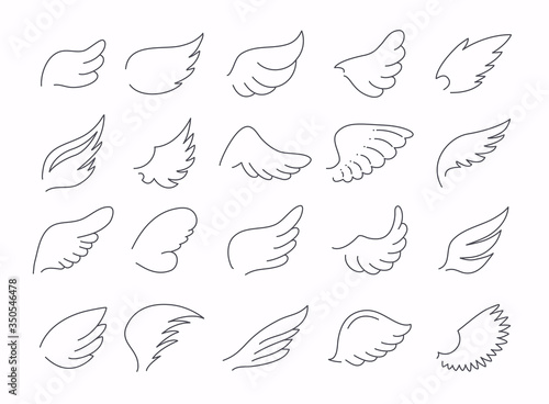 Wings icon sketch collection. Stylized bird wings. Canvas Print