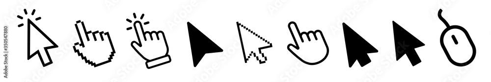 Fototapeta Vector cursors icons click set