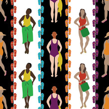 Vector Women In Swimsuits With Shoes In Purple Blue Red Yellow Orange On White Black Stripes Seamless Repeat Pattern. Background For Textiles, Cards, Manufacturing, Wallpapers, Print, Gift Wrap And