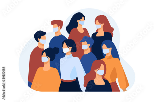 Obraz Crowd of people wearing face medical masks outside. Infection spread prevention in society. Vector illustration for coronavirus outbreak, safety, quarantine, disease concept - fototapety do salonu