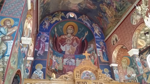 Low Angle View Of Mural In Tessaron Martiron Church Canvas Print