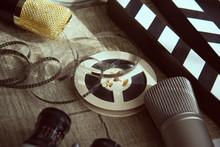 Film Reel, Movie Clapperboard,...
