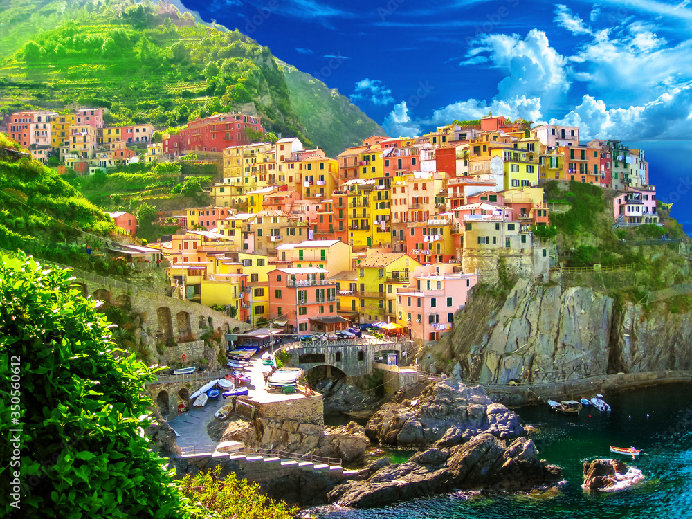 Fototapeta Aerial View of scenic Manarola colorful village of Cinque Terre National Park, Unesco Heritage. region of Italy, Europe.