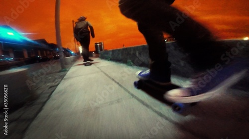 Blurred Motion Of Person Doing Skateboarding