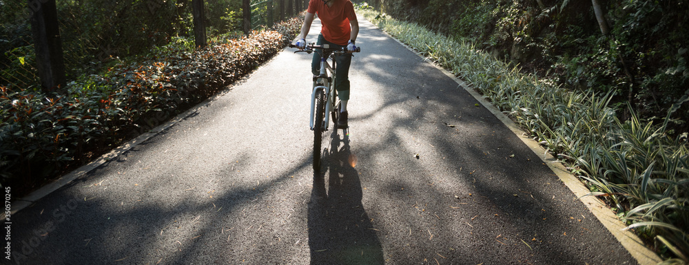 Fototapeta Woman cycling on bike path at park on sunny day