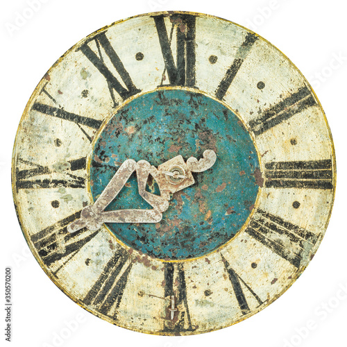 Fotografering Authentic medieval clock face with one hour hand isolated on a white background
