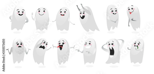 Cute ghosts with funny facial expressions vector illustration Wallpaper Mural