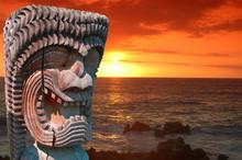 Ancient Hawaiian Statue Of A Local God.
