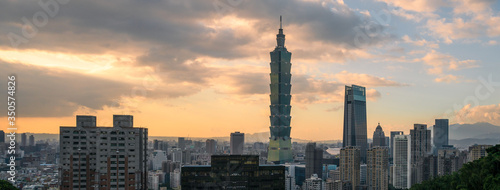 Arrival view of Taipei cityscape and Taipei 101 view from the elephant mountain( Wallpaper Mural