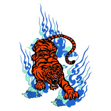 Tiger Vector With Cloud Smoke ...