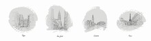 Set Of Most Famous World City Sketches With Pencil Vector Illustration. Drawing Of Tokyo New York Paris And London Flat Style. Art And Masterpiece Concept. Isolated On White Background