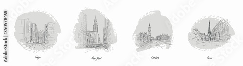 Cuadros en Lienzo Set of most famous world city sketches with pencil vector illustration