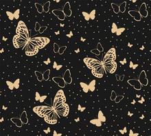 Pattern With Golden Butterflie...