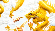 Abstract Cultural Art Of Chinese Golden Dragon Sculpture Montage On Wall Ceiling Of Asia Temper Architecture.