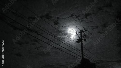 Obraz na plátně Low Angle View Of Silhouette Electricity Pylon Against Cloudy Sky
