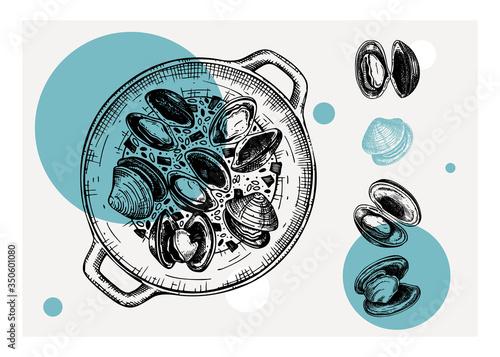 Vászonkép Cooked Clamshells in pot illustrations