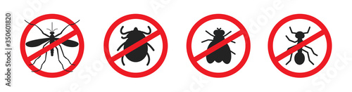 Mosquitoes stop sign vector icon, thick, flea and fly mark Slika na platnu