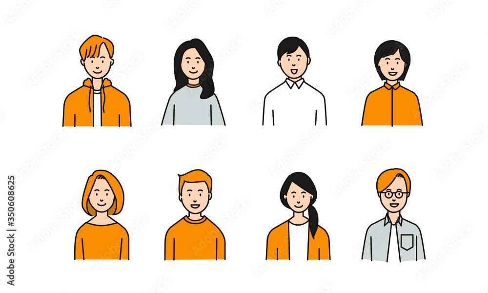 Fototapeta カジュアルな服を着た多様な人々のイラストアイコン