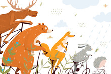 Animals On Bikes, Cute Children Illustrated Postcard Or Banner With Bear, Fox, Wolf, Moose And Bunny On Bicycles. Wild Animals Or Circus Funny Design. Vector Cartoon.