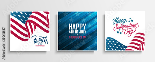 USA Independence Day greeting cards set with waving american national flag Canvas Print