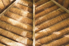 Detail Of A Rustic Haystack Straw Roof Viewed From Inside
