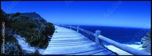Fotografie, Tablou View Along Seaside Wooden Footbridge