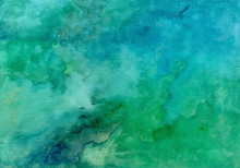 Blue Green Abstract Watercolor Texture Background