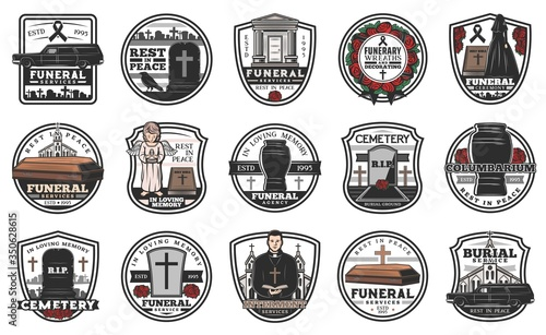 Fotografia Funeral, burial and funerary service vector icons