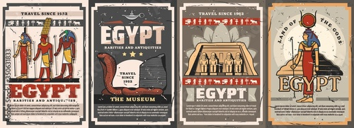 Obraz Egyptian gods, travel landmarks and culture vector posters. Isis, Amun, Hathor and Thoth deities, cobra snake, Abu Simbel temple and Djoser Pyramid. Egyptian antique civilization. Travel to Egypt - fototapety do salonu