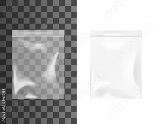 Photo Plastic or cellophane zip bag, realistic isolated 3d vector mockup