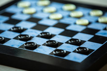 Board With Checkers. Close Up ...