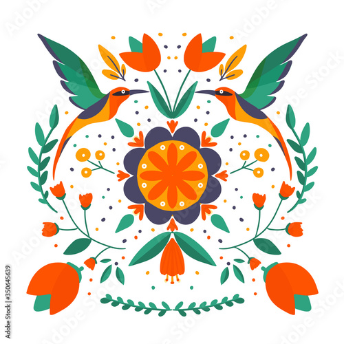Photographie folk art scandinavian colourful pattern with floral and birds vector illustratio