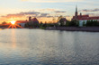 sunset over the Odra River and the historical part of Wroclaw
