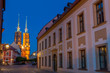 evening streets and a view of the Wroclaw cathedral