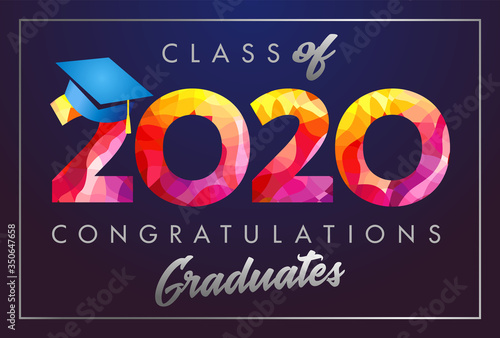 Obraz Class of 2020 year graduation banner, awards concept. Stained 3D sign, happy holiday invitation card. Isolated abstract graphic design template. Calligraphic text in brushing style, dark background. - fototapety do salonu