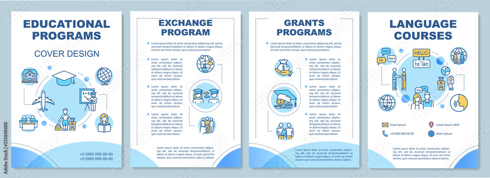 Fototapeta Educational program brochure template. Student exchange. Flyer, booklet, leaflet print, cover design with linear icons. Vector layouts for magazines, annual reports, advertising posters